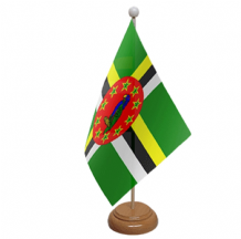 DOMINICA  - TABLE FLAG WITH WOODEN BASE